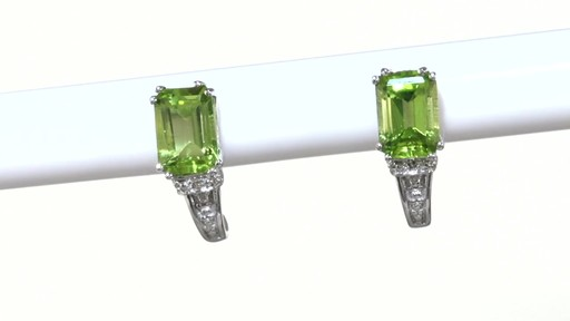 ZALES Emerald-Cut Peridot and Diamond Accent Drop Earrings in 10K White Gold, Women's, Size: regular - image 9 from the video