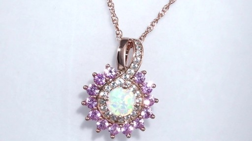 Zales Lab-Created Opal, Pink and White Sapphire Starburst Frame Pendant in Sterling Silver and 14K Rose Gold Plate