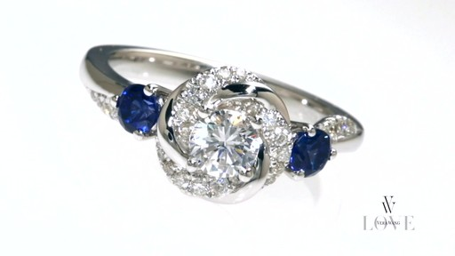 Diamond and Blue Sapphire Swirl Engagement Ring in 14K White Gold Shop Zale