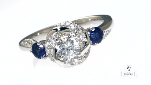 Diamond And Blue Sapphire Swirl Engagement Ring In 14k