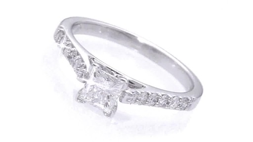 Certified Colorless Princess Cut Diamond Solitaire