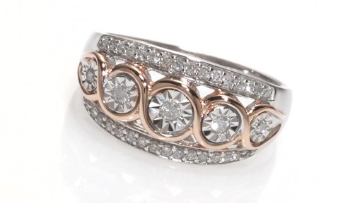 Diamond Twist Promise Ring in Sterling Silver with 14K Rose Gold Plate Women
