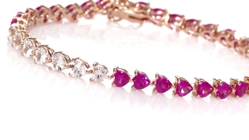 Zales 5.0mm Heart-Shaped Lab-Created Ruby and Diamond Accent Bracelet in Sterling Silver with 10K Gold Plate - 7.25 C6rpMsV