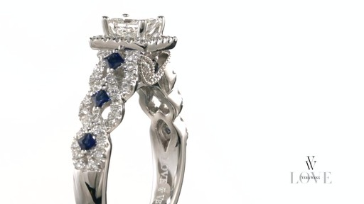 Diamond And Blue Sapphire Engagement Ring In 14k White Gold Vera