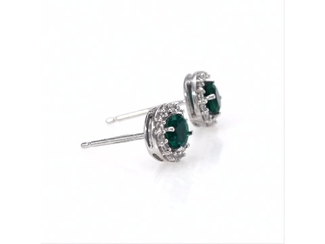 4.0mm Emerald and White Topaz Frame Stud Earrings in 10K White Gold - image 1 from the video