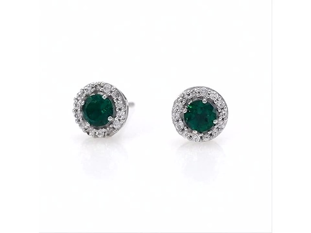 4.0mm Emerald and White Topaz Frame Stud Earrings in 10K White Gold - image 10 from the video