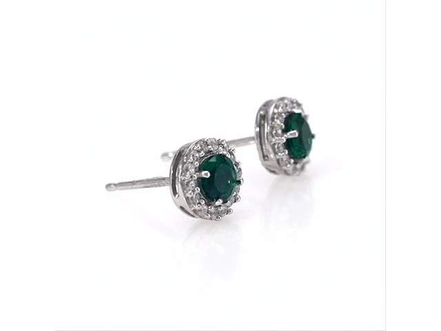 4.0mm Emerald and White Topaz Frame Stud Earrings in 10K White Gold - image 2 from the video