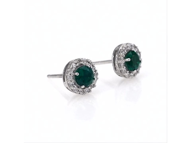 4.0mm Emerald and White Topaz Frame Stud Earrings in 10K White Gold - image 3 from the video