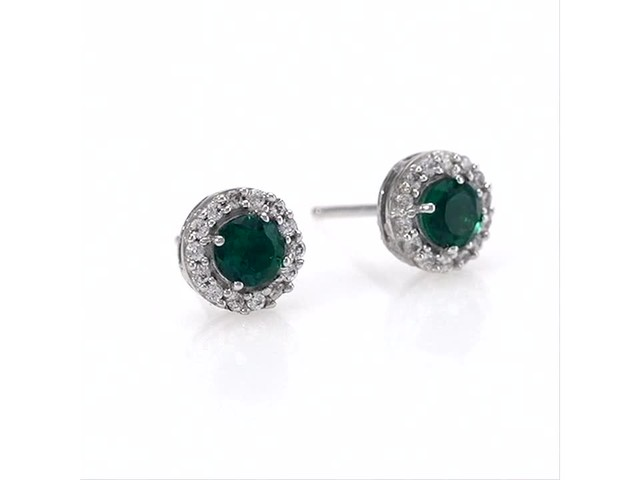 4.0mm Emerald and White Topaz Frame Stud Earrings in 10K White Gold - image 4 from the video