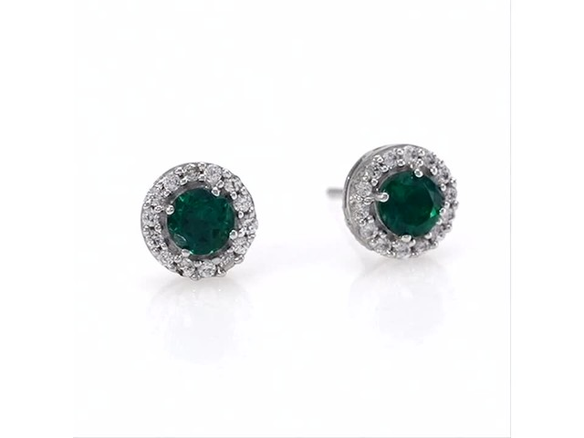 4.0mm Emerald and White Topaz Frame Stud Earrings in 10K White Gold - image 5 from the video