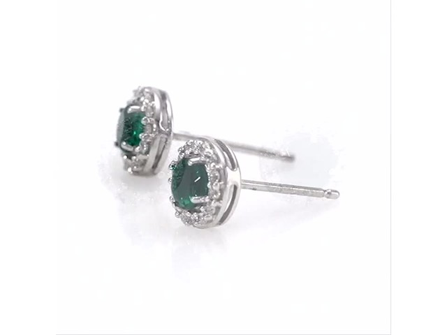 4.0mm Emerald and White Topaz Frame Stud Earrings in 10K White Gold - image 6 from the video