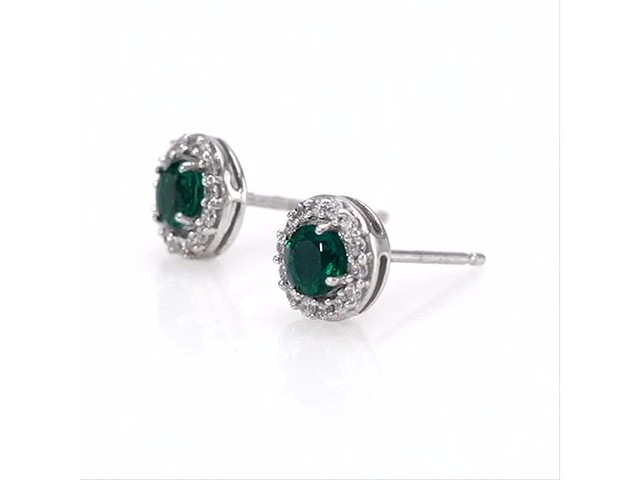 4.0mm Emerald and White Topaz Frame Stud Earrings in 10K White Gold - image 7 from the video