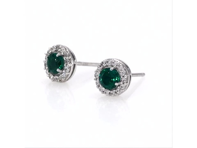 4.0mm Emerald and White Topaz Frame Stud Earrings in 10K White Gold - image 8 from the video