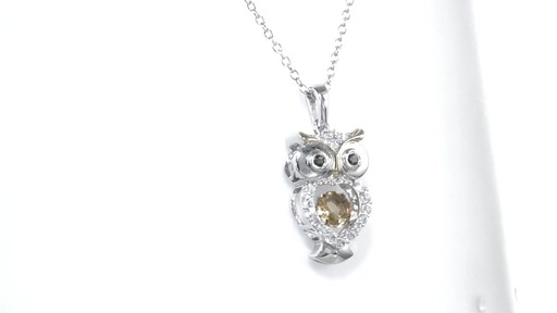 Zales Unstoppable Love Citrine and Lab-Created White Sapphire Owl Pendant in Sterling Silver and 14K Gold Plate 9hNBbiceg