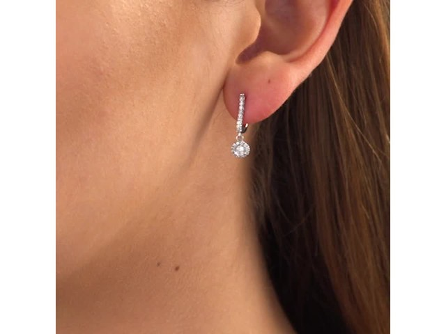 3/4 CT. T.w. Diamond Frame Drop Earrings in 10K White Gold - image 10 from the video
