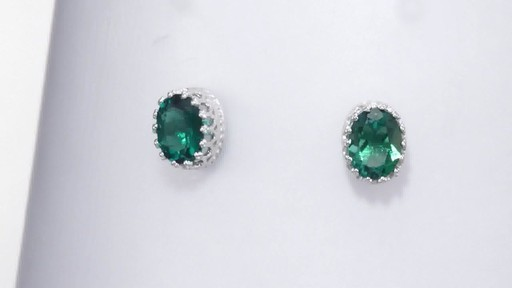 Zales Oval Lab-Created Emerald Crown Earrings in Sterling Silver X96xDbvI