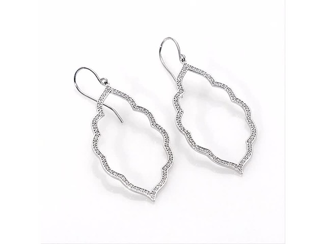 1/4 CT. T.w. Diamond Arabesque Drop Earrings in 10K White Gold - image 4 from the video