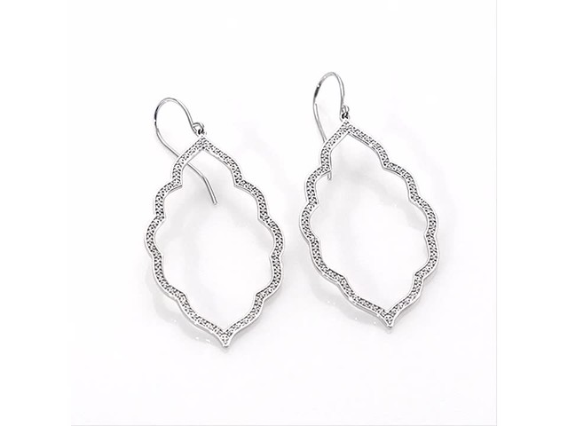1/4 CT. T.w. Diamond Arabesque Drop Earrings in 10K White Gold - image 5 from the video