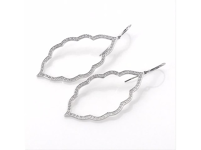 1/4 CT. T.w. Diamond Arabesque Drop Earrings in 10K White Gold - image 6 from the video