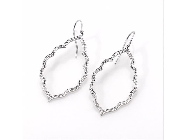 1/4 CT. T.w. Diamond Arabesque Drop Earrings in 10K White Gold - image 9 from the video