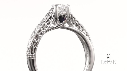 Pear Shaped Diamond Solitaire Scroll Engagement Ring In