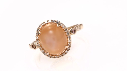 Diamond Ring In 10k Rose Gold Oval Peach Moonstone Pink