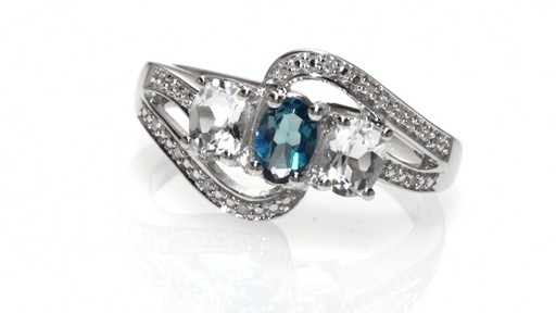 ZALES Oval London Blue Topaz Lab Created White Sapphire and Diamond Accent T