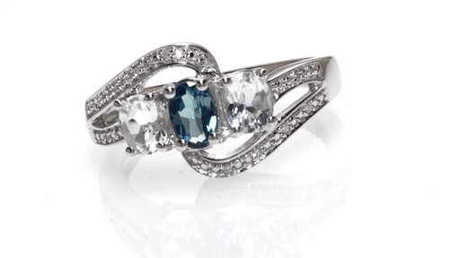 Zales Oval London Blue Topaz Lab Created White Sapphire