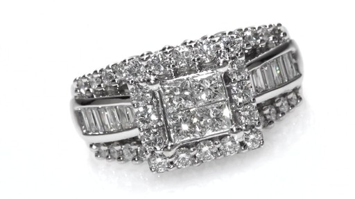 Princess Cut Quad And Baguette Diamond Engagement Ring In