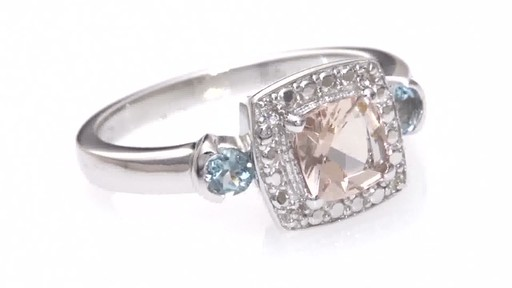 ZALES Cushion Cut Morganite Aquamarine and Diamond Accent Frame Ring in Ster