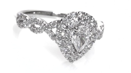 Pear Shaped Diamond Frame Twist Engagement Ring In 14k