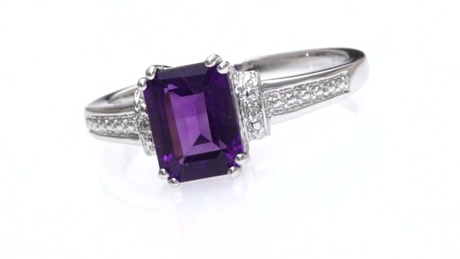 Zales Emerald Cut Amethyst And Diamond Accent Collar Ring
