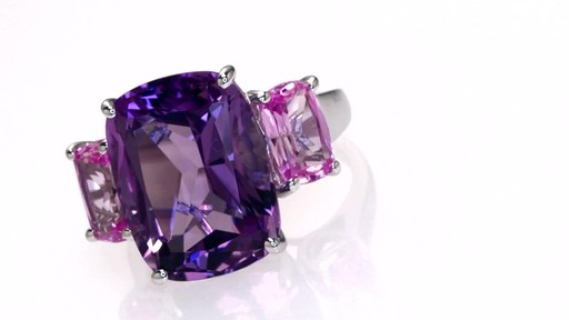 Cushion Cut Amethyst And Lab Created Pink Sapphire Ring In