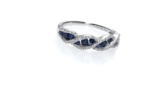 zales lab created blue and white sapphire wave ring in