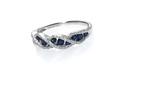 ZALES Lab Created Blue and White Sapphire Wave Ring in Sterling Silver Size