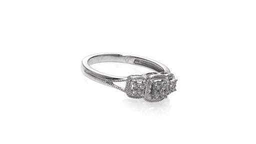 Diamond Three Stone Cluster Promise Ring in Sterling Silver Size 6 Women&