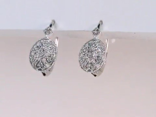 Diamond Filigree Leverback Earrings In Sterling Silver 1 8