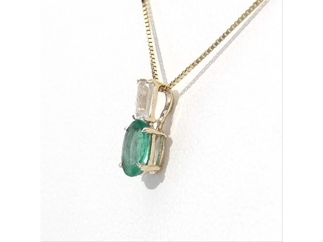 Oval Emerald and Baguette-Cut White Topaz Pendant in 10K Gold - image 1 from the video