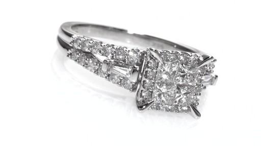 Princess Cut Quad Diamond Engagement Ring in 14K White Gold Women s Siz