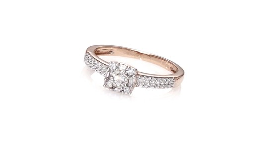 Diamond Double Row Promise Ring in 10K Rose Gold ZALES 1 4 Shop Zales Ame