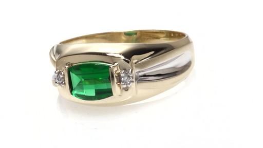 ZALES Men s Barrel Cut Lab Created Emerald and Diamond Accent Ring in 10K