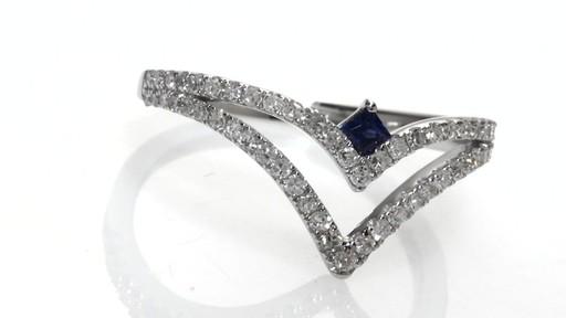Diamond And Blue Sapphire Split Shank Chevron Ring In 14k