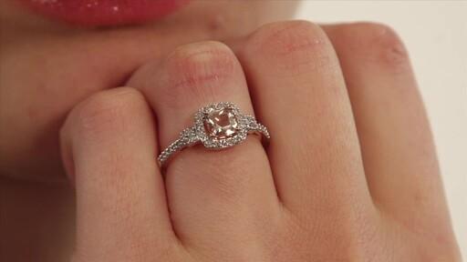b36f2e766 Diamond Ring in 10K Rose Gold 5.0mm Cushion-Cut Morganite and 1/5 CT ...