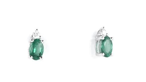 ZALES Oval Emerald and Diamond Accent Stud Earrings in 10K White Gold, Girl's, Size: regular - image 10 from the video
