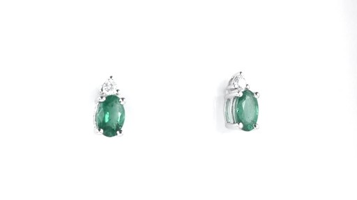 ZALES Oval Emerald and Diamond Accent Stud Earrings in 10K White Gold, Girl's, Size: regular - image 3 from the video