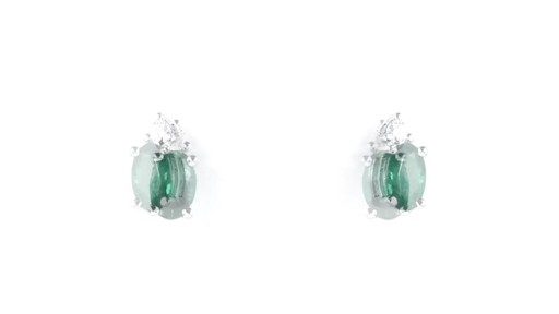 ZALES Oval Emerald and Diamond Accent Stud Earrings in 10K White Gold, Girl's, Size: regular - image 4 from the video
