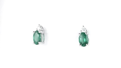 ZALES Oval Emerald and Diamond Accent Stud Earrings in 10K White Gold, Girl's, Size: regular - image 5 from the video