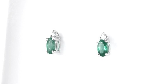 ZALES Oval Emerald and Diamond Accent Stud Earrings in 10K White Gold, Girl's, Size: regular - image 6 from the video