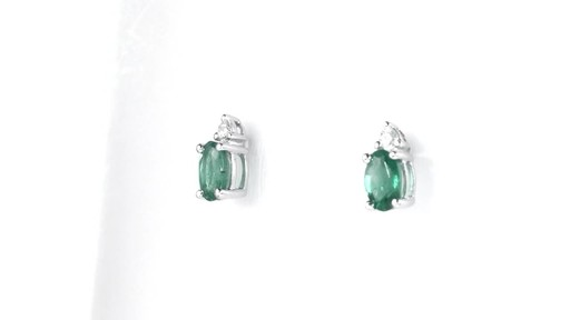 ZALES Oval Emerald and Diamond Accent Stud Earrings in 10K White Gold, Girl's, Size: regular - image 7 from the video