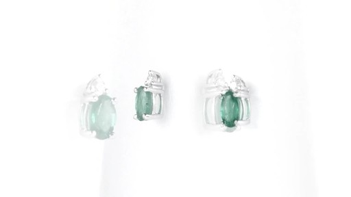 ZALES Oval Emerald and Diamond Accent Stud Earrings in 10K White Gold, Girl's, Size: regular - image 8 from the video